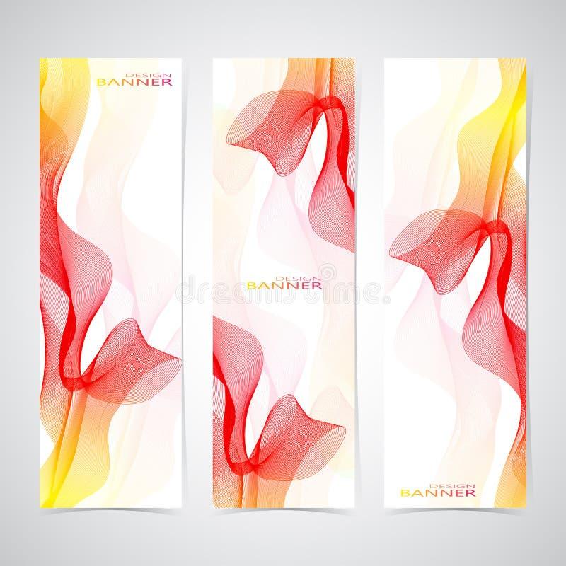 五颜六色的垂直套横幅发烟性波浪 库存例证