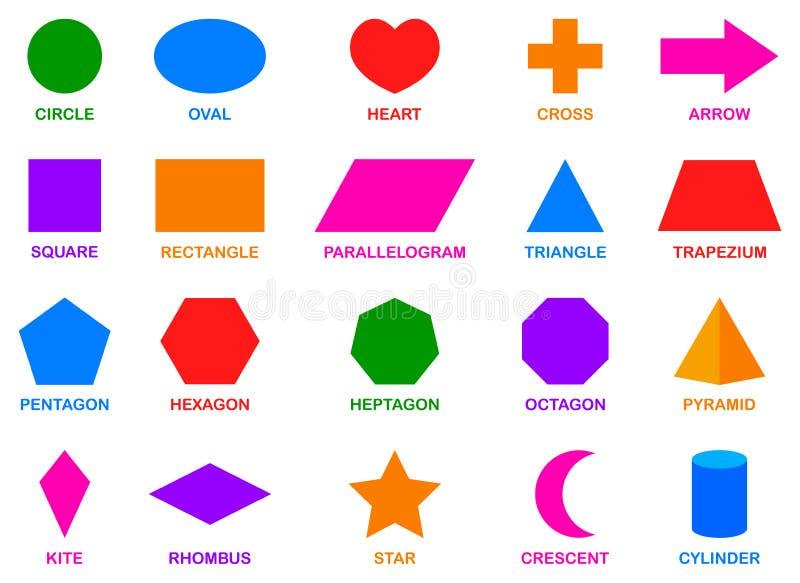 五颜六色的基本的几何形状 向量例证