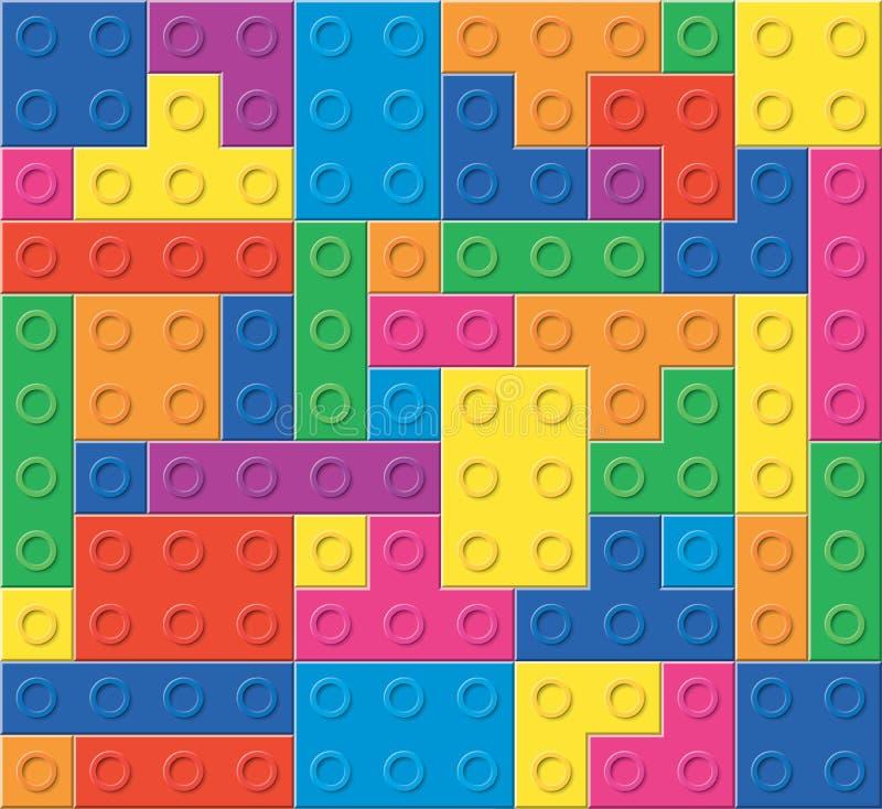 五颜六色的塑料块的样式 向量例证