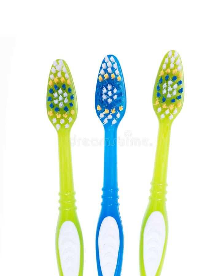 五颜六色的塑料牙刷 免版税库存照片