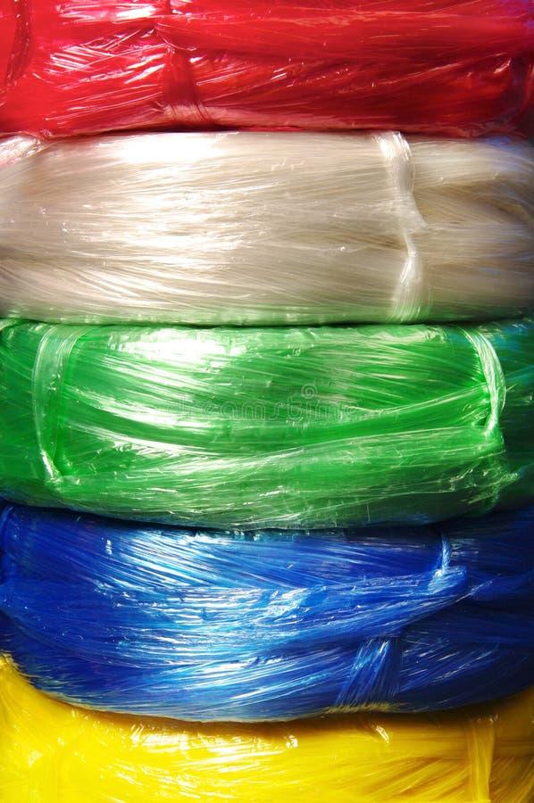 五颜六色的塑料绳索 图库摄影