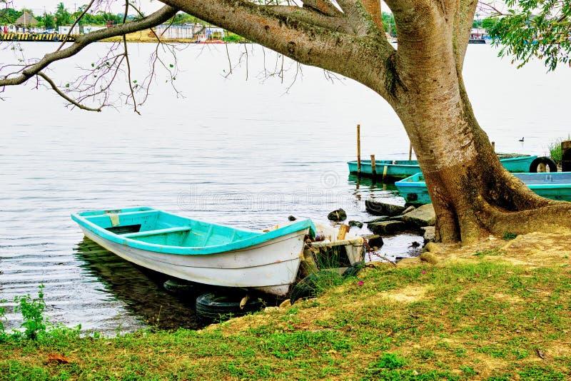 五颜六色的墨西哥土气小船 库存图片