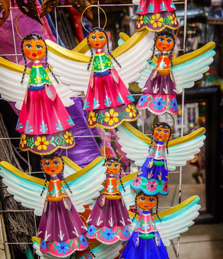 五颜六色的墨西哥天使纪念品圣米格尔德阿连德墨西哥 库存图片