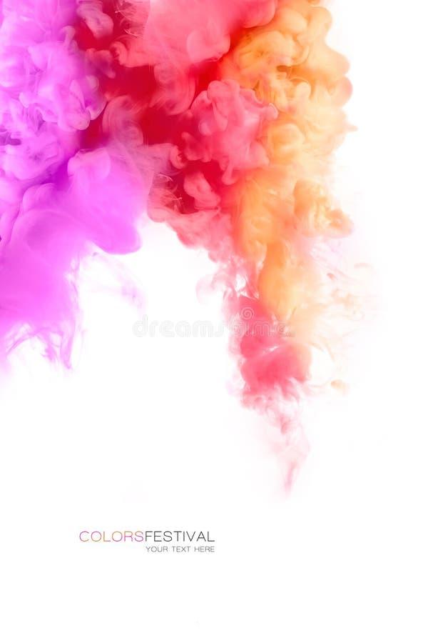 五颜六色的墨水在水中 抽象被构造的背景颜色数字式展开分数维例证 绘纹理 库存图片