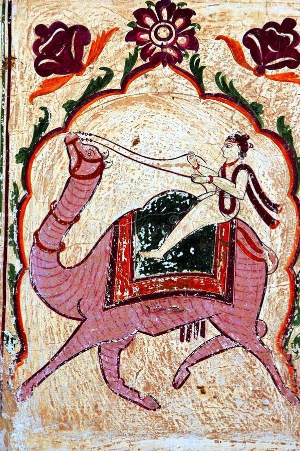 五颜六色的壁画haveli印度mandawa s 向量例证