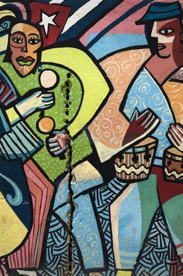 五颜六色的壁画在哈瓦那,古巴 免版税图库摄影
