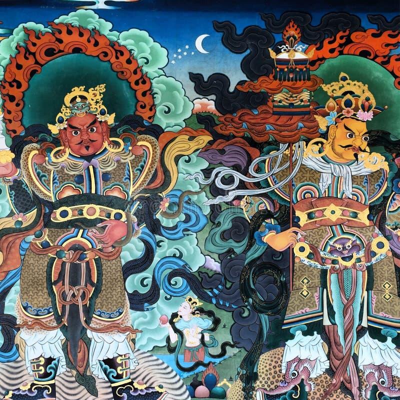 五颜六色的复杂佛教绘画 免版税图库摄影