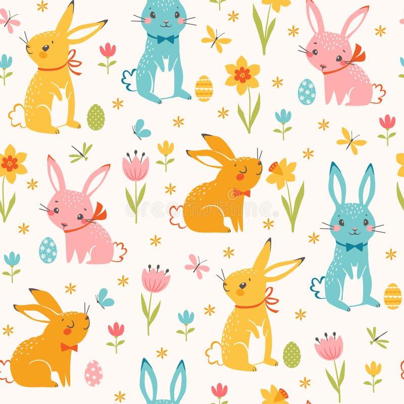 五颜六色的复活节兔子无缝的样式 向量例证