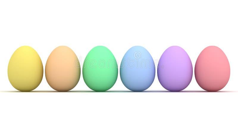 五颜六色的复活节彩蛋被隔绝在白色背景 库存例证