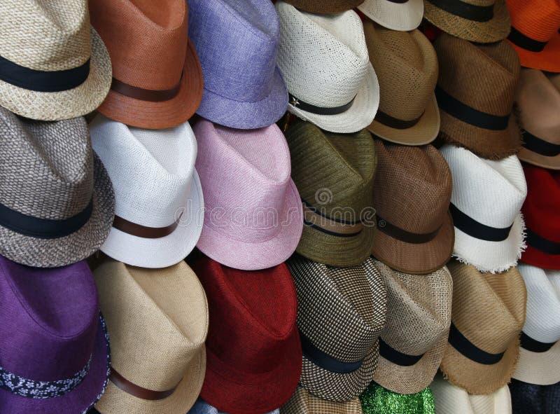 五颜六色的夏天帽子 库存图片