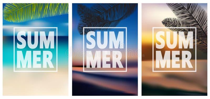 五颜六色的夏天横幅,热带背景设置与棕榈,海,云彩,天空,海滩 皇族释放例证