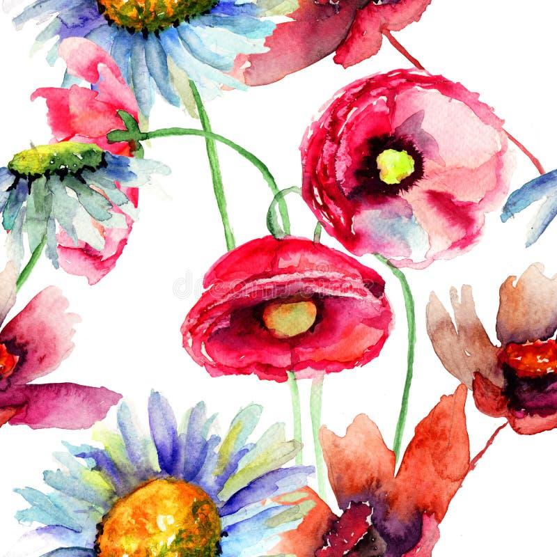 五颜六色的夏天花,无缝的样式 向量例证
