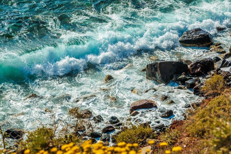 五颜六色的多岩石的海滩在圣托里尼,希腊 免版税库存图片