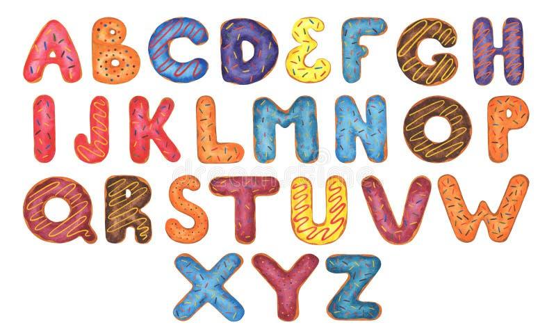 五颜六色的多福饼字母表 库存例证