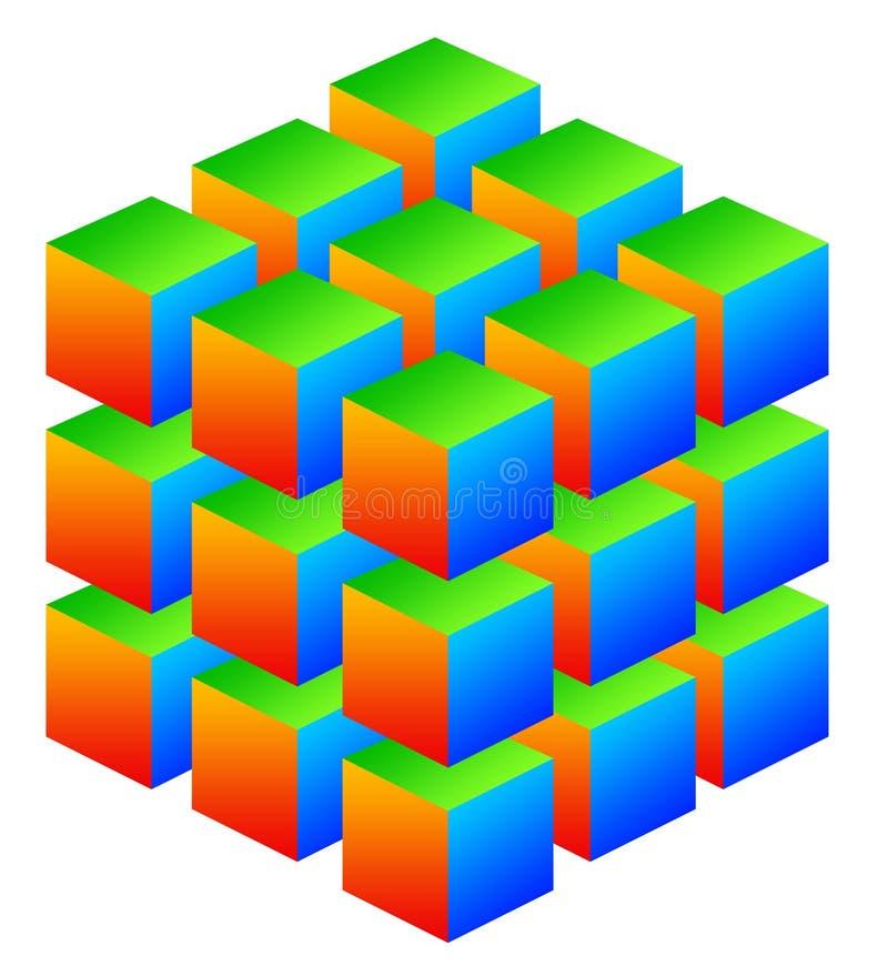 五颜六色的多维数据集 库存例证
