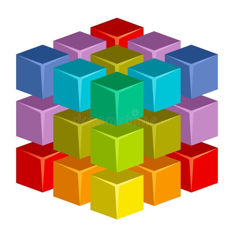 五颜六色的多维数据集 皇族释放例证