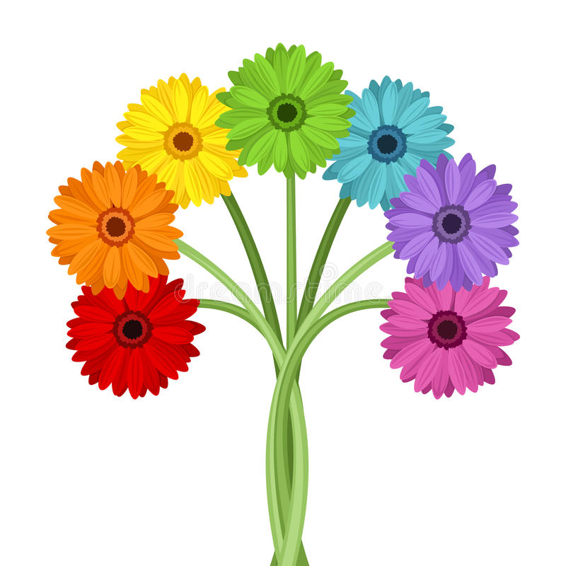 五颜六色的大丁草花花束。 向量例证