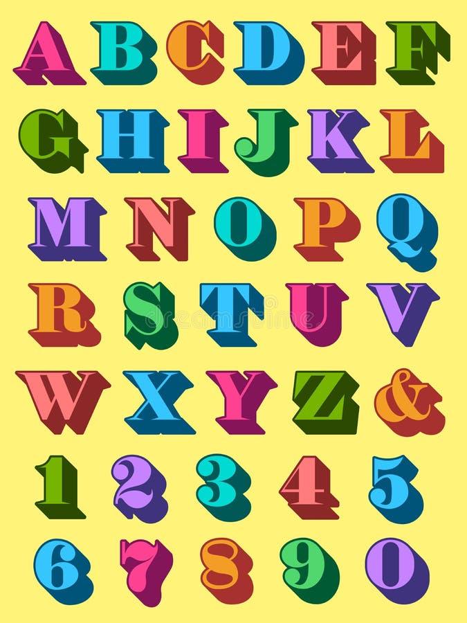 以五颜六色的大写设置的完全字母表 皇族释放例证