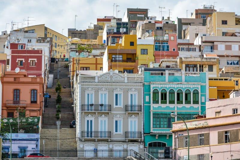 五颜六色的大厦在拉斯帕尔马斯de大加那利岛,西班牙 图库摄影