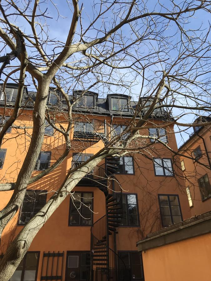 五颜六色的大厦在斯德哥尔摩 免版税库存图片
