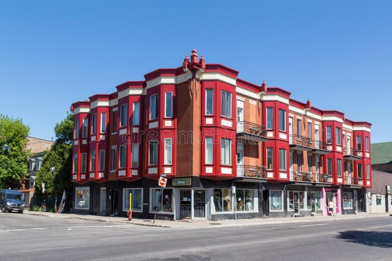 五颜六色的大厦在蒙特利尔 库存图片