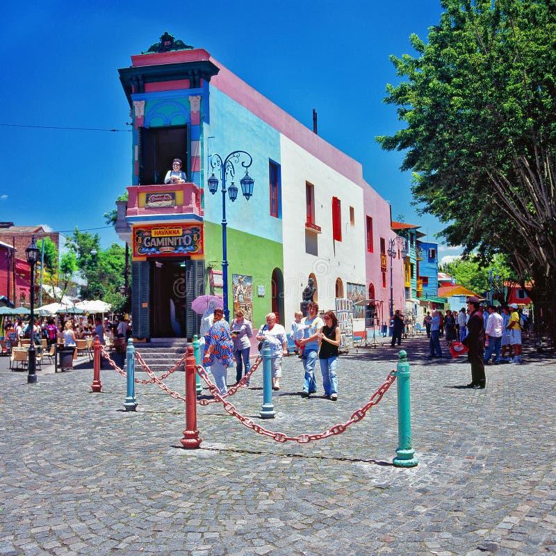 五颜六色的大厦, la Boca, Carminito,布宜诺斯艾利斯,阿根廷 免版税库存图片
