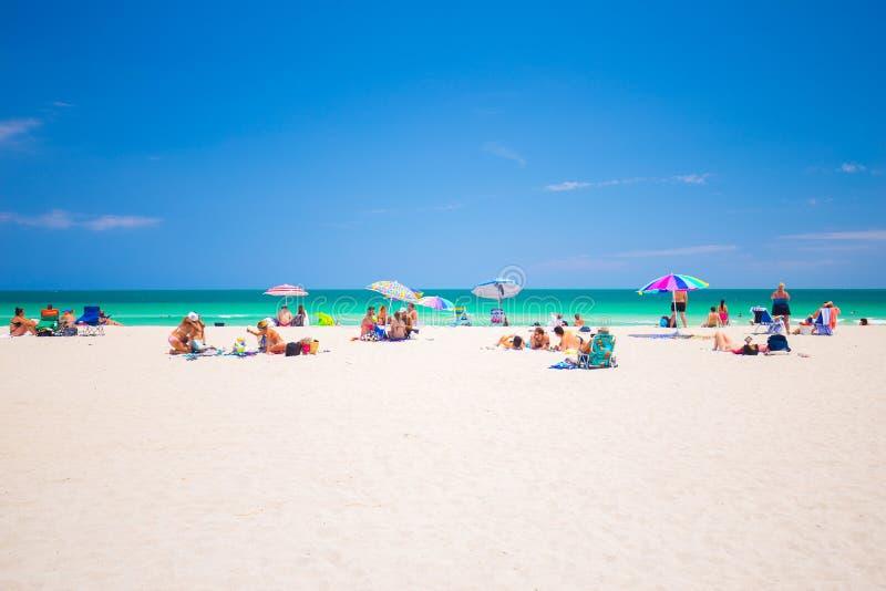 五颜六色的大西洋,南海滩,迈阿密海滩,佛罗里达,美国 免版税库存图片