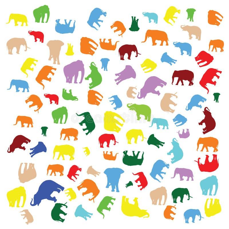 五颜六色的大象混合 库存例证
