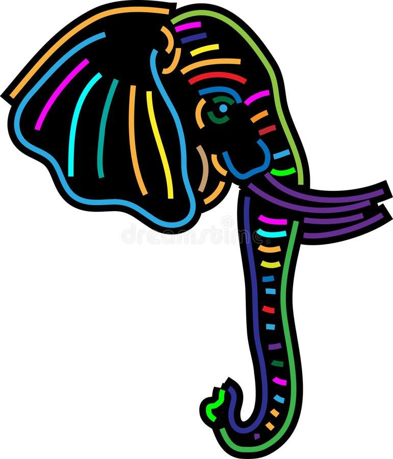 五颜六色的大象头 向量例证