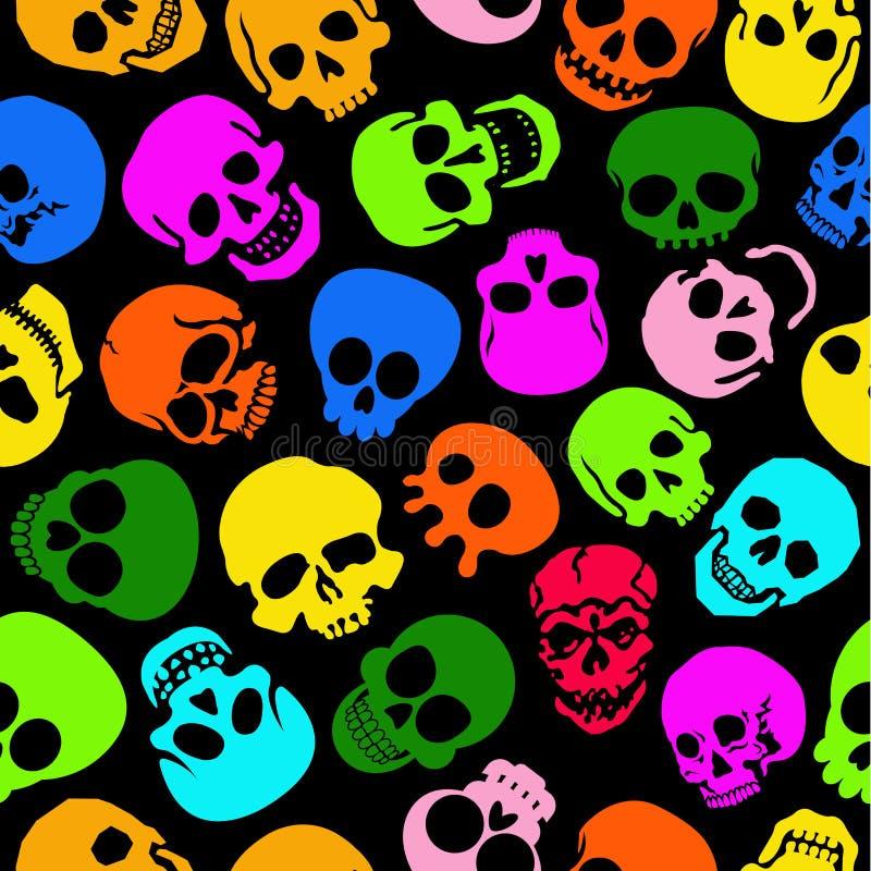 五颜六色的头骨无缝的模式 库存例证