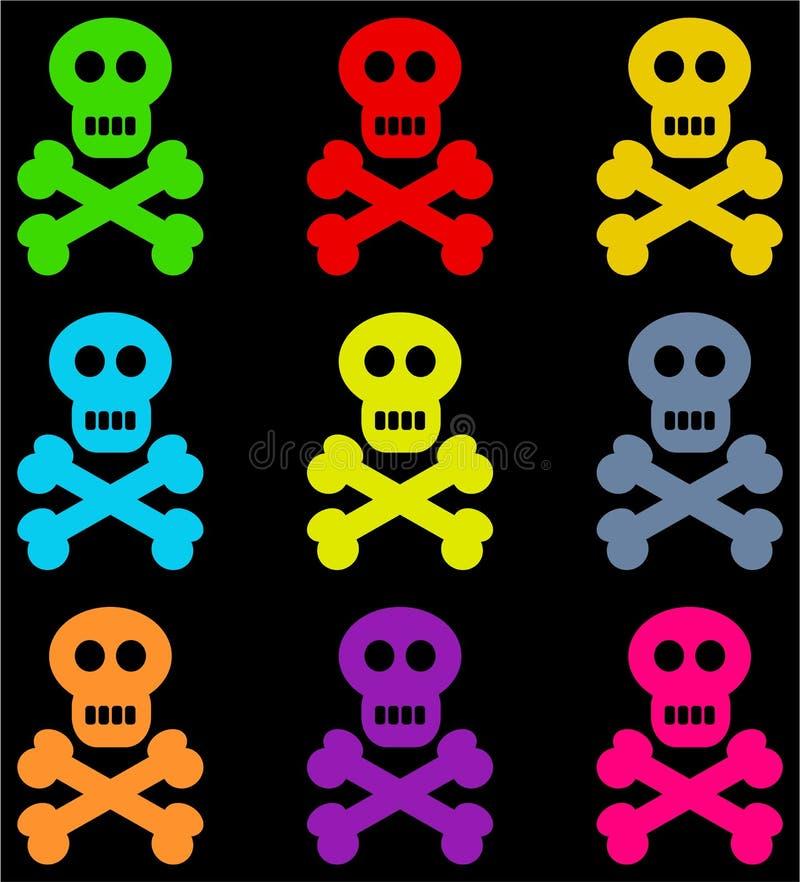 五颜六色的头骨 皇族释放例证