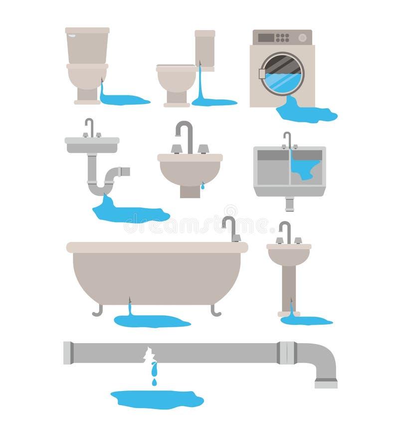 五颜六色的套与水滴的卫生间内部对象用管道输送 向量例证