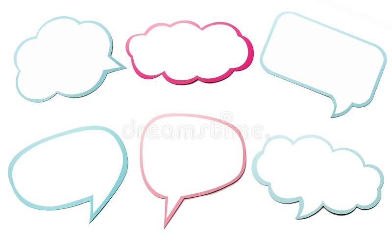 五颜六色的套另外讲话泡影作为在空的白色背景隔绝的云彩 库存例证
