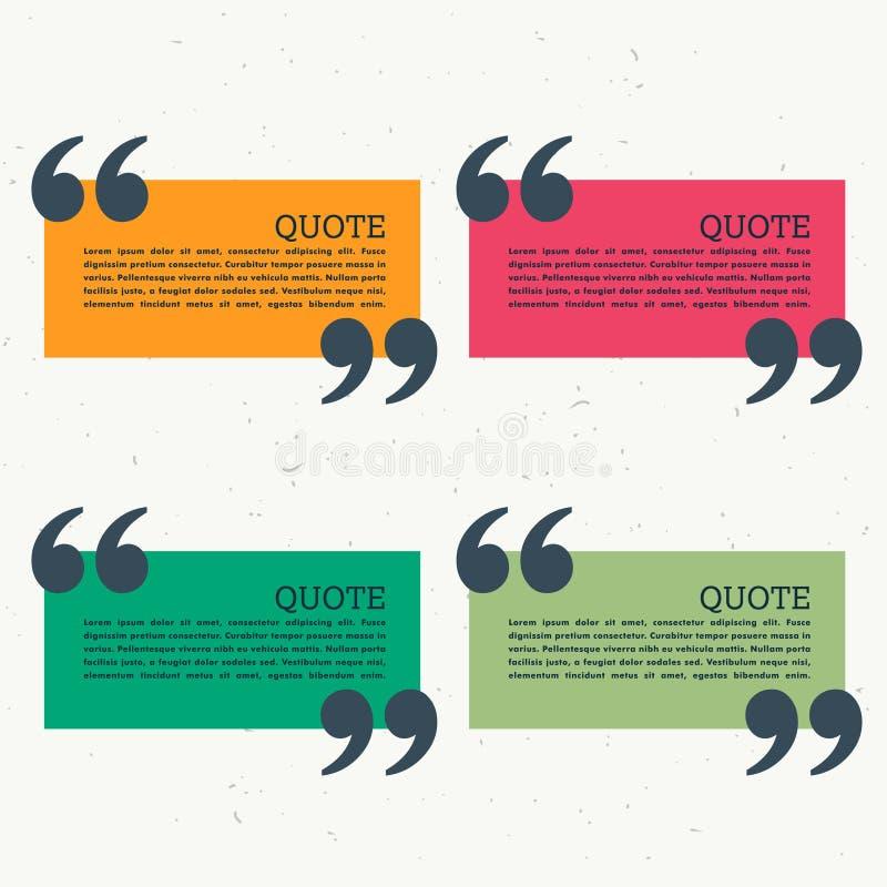 五颜六色的套四个引号 库存例证