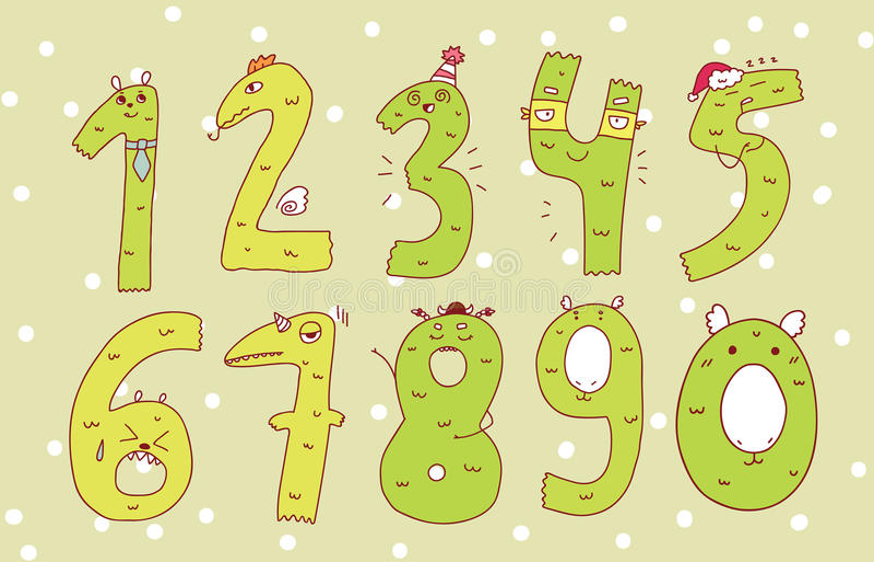 五颜六色的套在背景的手拉的数字 免版税库存照片