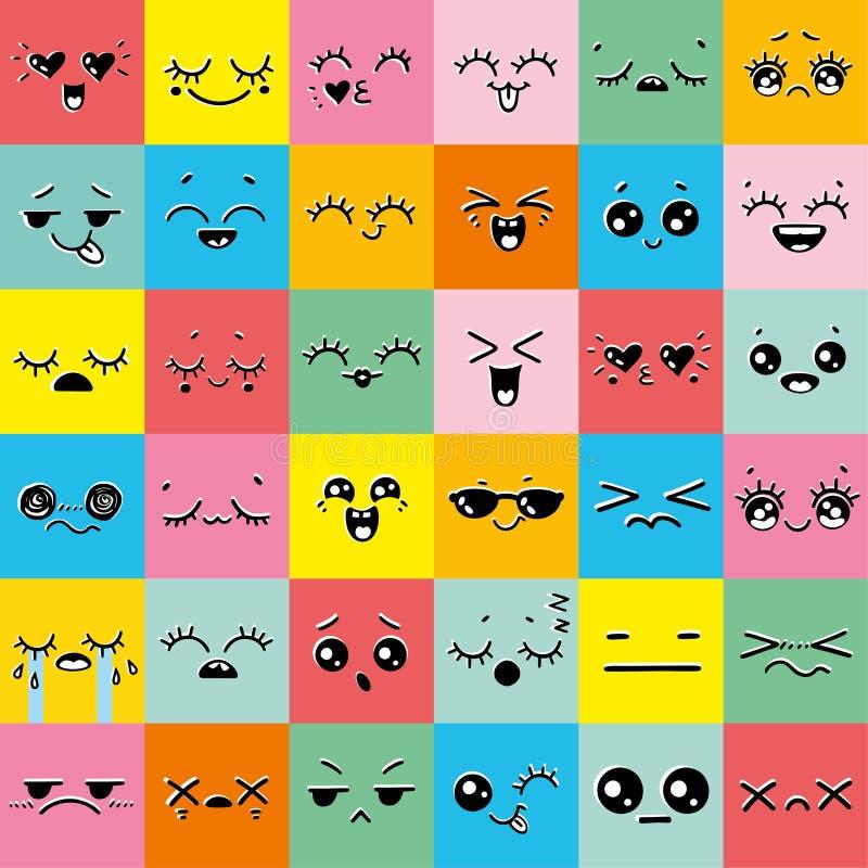 五颜六色的套意思号或emoji例证线象 向量例证