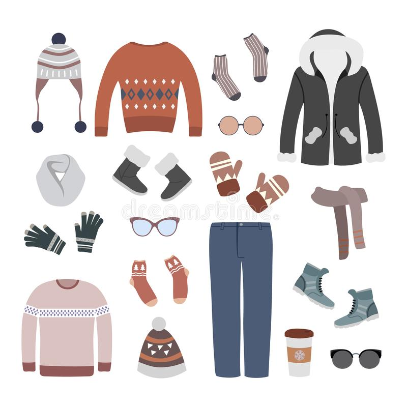 五颜六色的套现代和时髦的冬天妇女衣物 皇族释放例证