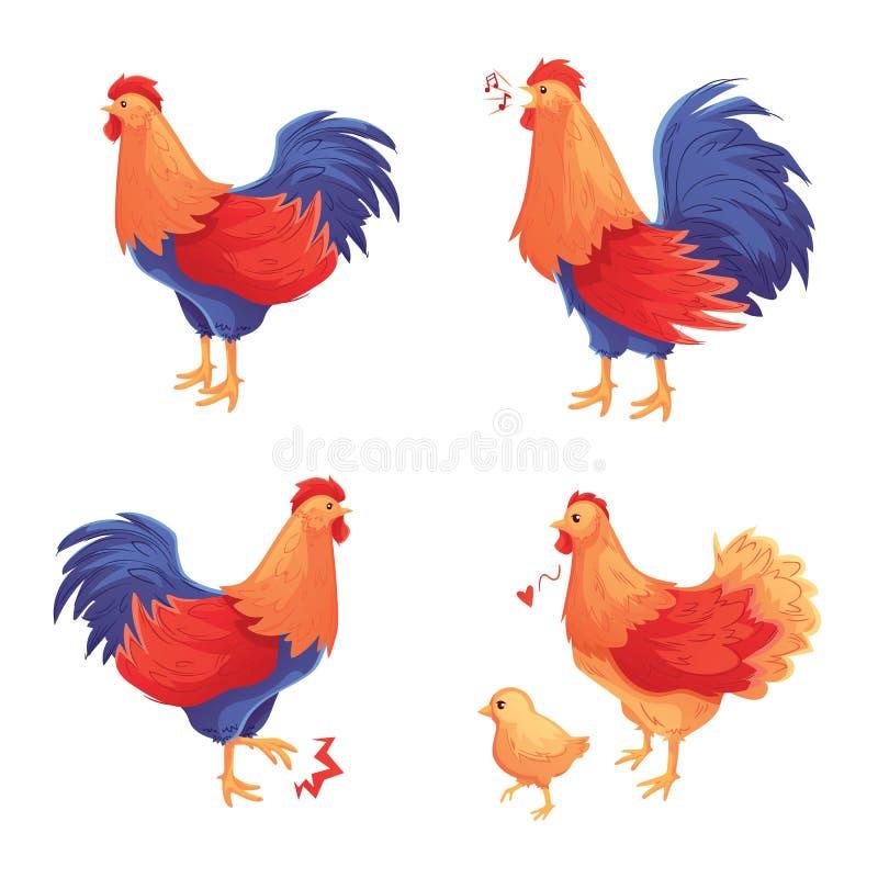 五颜六色的套雄鸡、母鸡和婴孩小鸡 库存例证