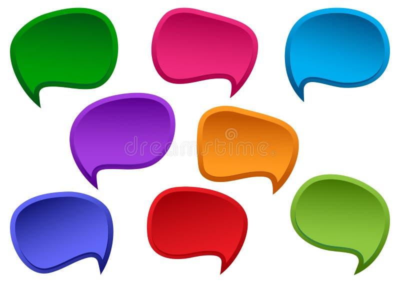 五颜六色的套speesh泡影 您的文本的空白的空的对话框 ?? 库存例证