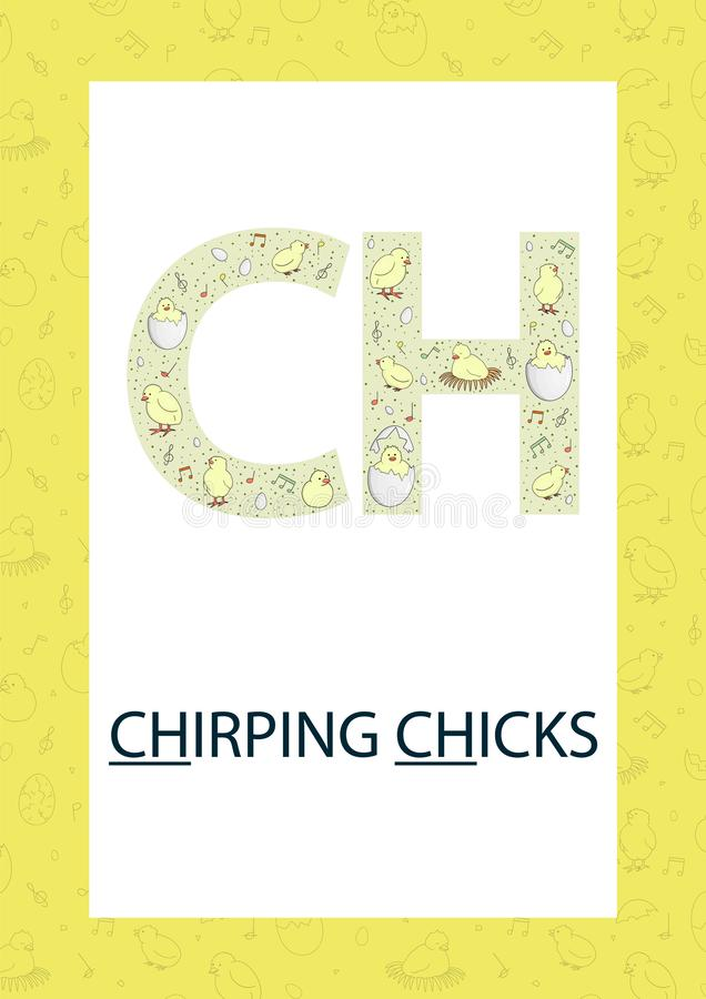 五颜六色的字母表信件C o 教的读书的逗人喜爱的CH声音与动画片样式鸡,鸡蛋,复活节 库存例证