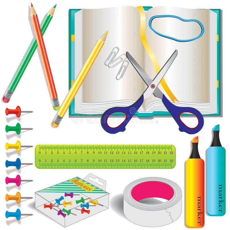 五颜六色的学校文教用品用品 免版税库存照片