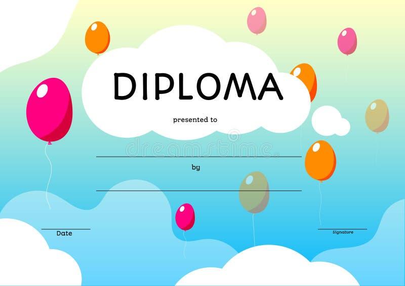 五颜六色的孩子文凭 传染媒介在动画片样式的证明模板 向量例证