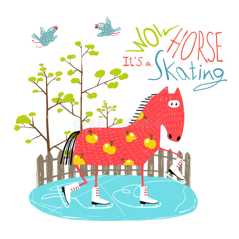 五颜六色的孩子的乐趣动画片滑冰的马 向量例证