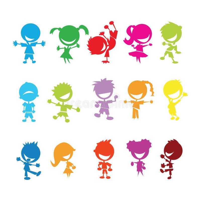 五颜六色的孩子 库存例证