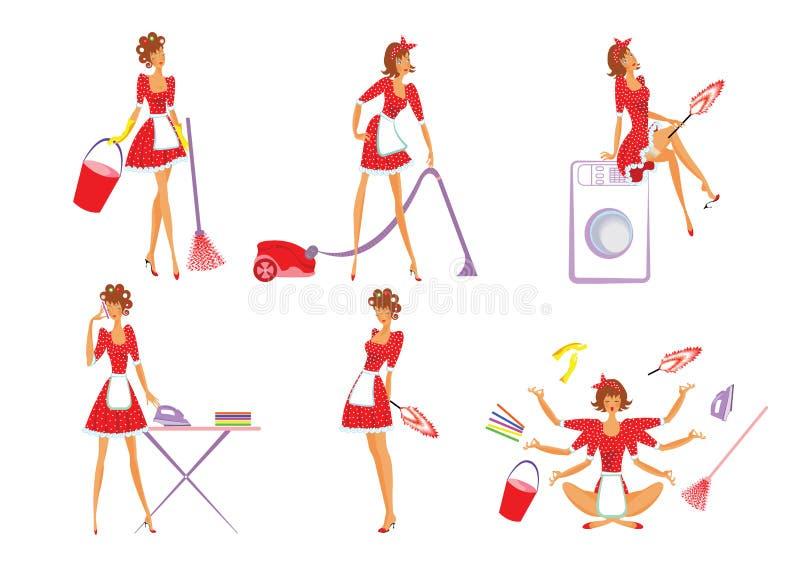 五颜六色的家庭清洁集合 向量例证