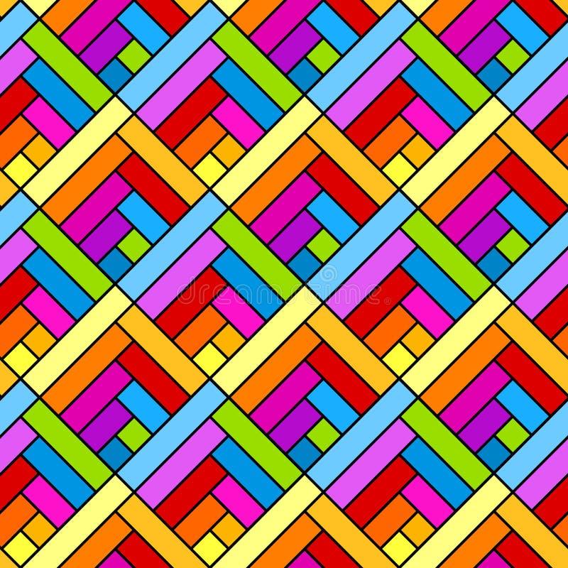 五颜六色的对角正方形无缝的几何样式 向量例证