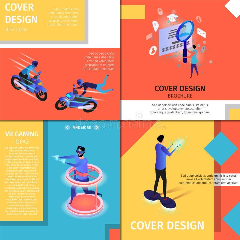 五颜六色的封面设计横幅设置与拷贝空间 皇族释放例证