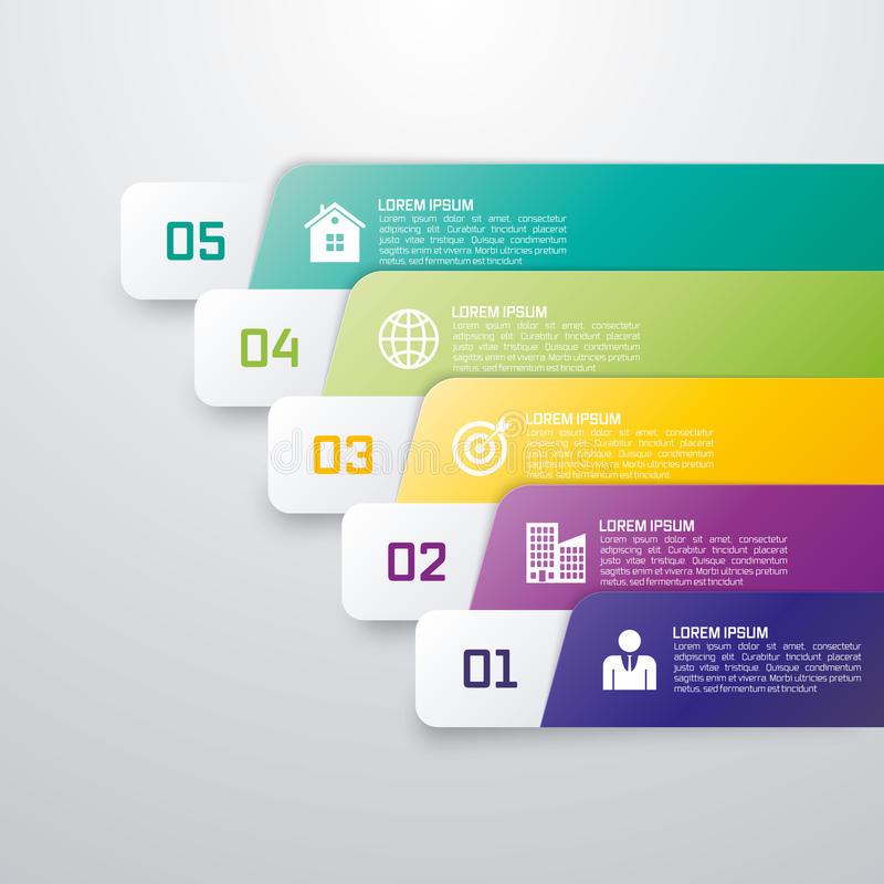 从五颜六色的小条的Infographic模板 库存例证