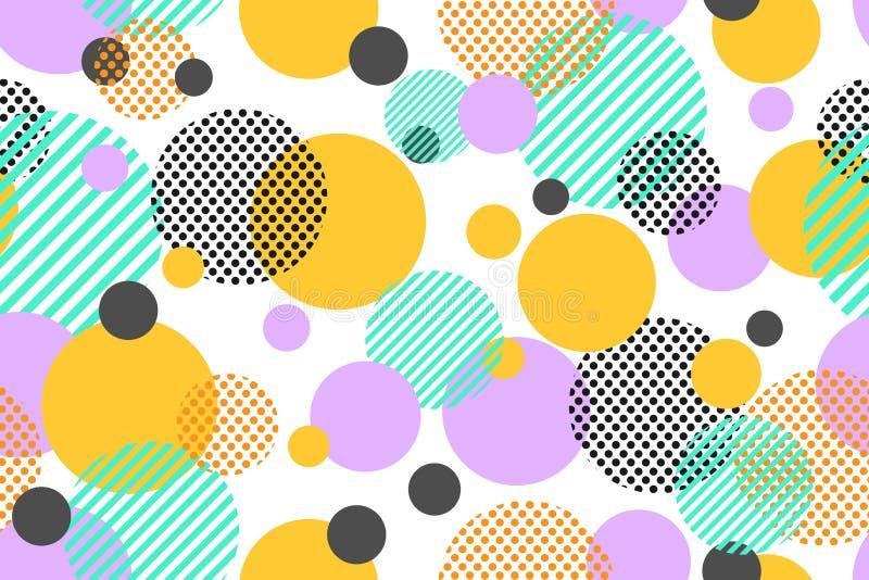 五颜六色的小点和几何圈子的无缝的样式现代在白色背景 皇族释放例证