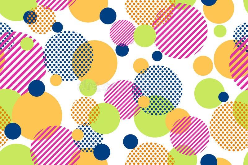 五颜六色的小点和几何圈子的无缝的样式现代在白色背景 库存例证